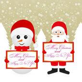 Jultomten och snögubbe — Stockvektor