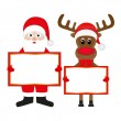 Stock Vector: Scientology Claus and Christmas reindeer