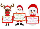 Christmas reindeer snowman and Santa Claus — Stock Vector