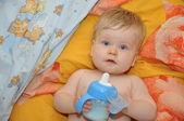 Little child drinking milk — Stock Photo