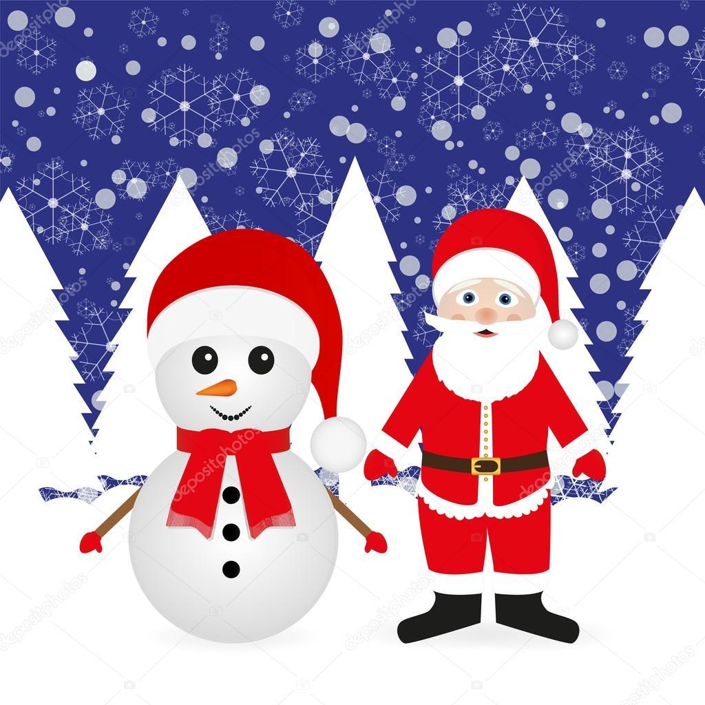 #C4070F Santa Claus And Snowman — Stock Vector © Pavlentii #16345921 6375 decoration noel exterieur bonhomme de neige 1024x1024 px @ aertt.com