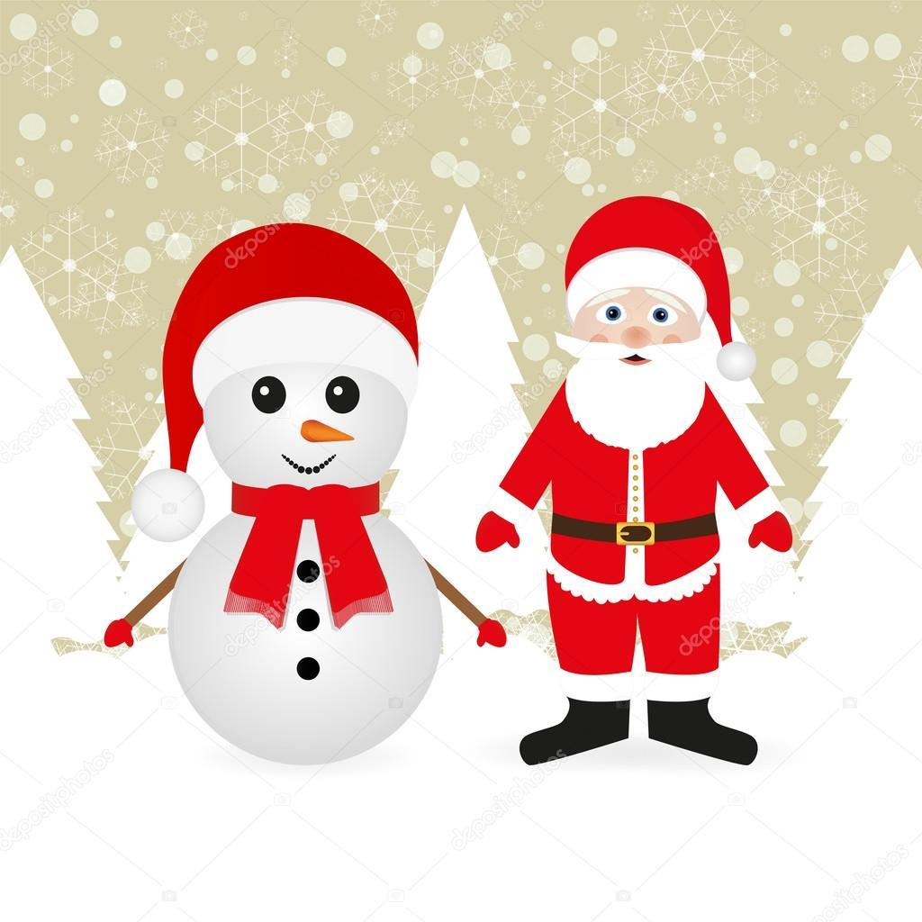 Claus Snowman Snowman And Santa Claus in a