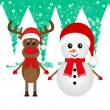 Stock Vector: Christmas reindeer and snowman