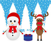 Snowman, reindeer and Christmas gift — Stock Vector
