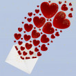 Hearts fly out of the envelope — Stock Vector