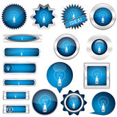 Collection of blue buttons — Stock Vector