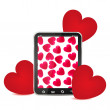 Hearts and Tablet PC - Stock Vector