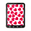 Hearts on a Tablet PC - Stock Vector
