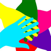 Colored hands superimposed — Stock Vector