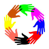 Colored hands in a circle — Stock Vector