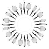 Cutlery and a white plate — Stock Vector