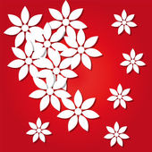 Paper flowers on a red background — Stock Vector