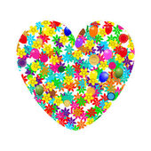 Heart of flowers and balloons — Stock Vector