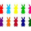 Colorful silhouettes of rabbits — ストックベクタ #23311224