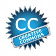 Stock Vector: Blue button labeled Creative Commons