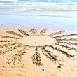 Sun drawn in the sand. — 图库照片