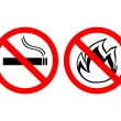 "Prohibiting signs ""no smoking"" and ""fire does not breed"" — Stock Vector"