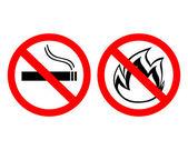"""禁止の標識「禁煙」と""""火は繁殖しません。"""" — ストックベクタ"""