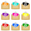 Set of envelopes with email symbol — Image vectorielle