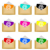 Set of envelopes with email symbol — Stock Vector