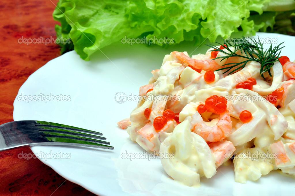 Салат из морепродуктов царский рецепт с