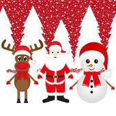 Reno de navidad, muñeco de nieve y santa claus — Vector de stock
