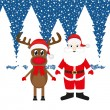 Christmas reindeer and Santa Claus — Stock Vector