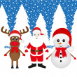 Christmas reindeer, snowman and Santa Claus — Stock Vector #32293113
