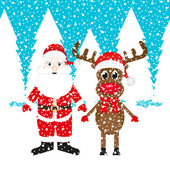 Christmas reindeer and Santa Claus — Stock Vector