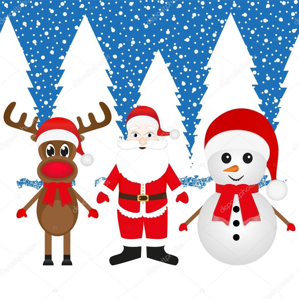 Claus Snowman Snowman And Santa Claus in