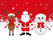 Christmas reindeer, snowman and Santa Claus — Stock Vector