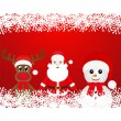 Stock Vector: Christmas reindeer, snowman and Santa Claus