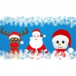 Christmas reindeer, snowman and Santa Claus — Stock Vector #33975493