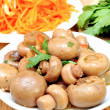 Mushrooms and carrots in Korean — Stock Photo