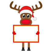 Christmas reindeer with blank banners — Stock Vector