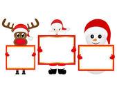 Noel Baba, kardan adam ve Ren geyiği — Stok Vektör