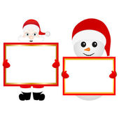 Santa Claus and snowman with empty banner — Stock Vector