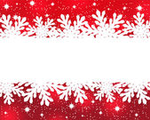 Banner with paper snowflakes on a red background — Vettoriale Stock