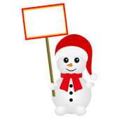 Snowman holding a banner — Stock Vector