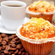 Cup of coffee with muffin and chocolate — Stock Photo