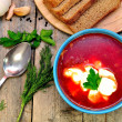 Traditional Russian-Ukrainiborscht soup — Stock Photo #41637035