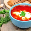 Traditional Russian-Ukrainiborscht soup — Stock Photo #41732937