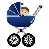Baby in a pram — Stock Vector