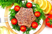 Jellied meat with fresh herbs — Stock Photo
