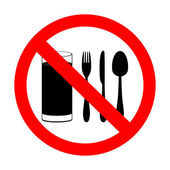 "Prohibitory sign ""with food and beverages are not permitted"" — Stock Vector"
