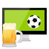 The ball into the TV screen and mug of beer — Stock Vector