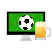 Ball into the TV screen and mug of beer — Stock Vector