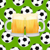 Two mugs of beer on background of soccer balls — Stock Vector
