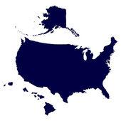 Kaart van de verenigde staten van amerika — Stockvector