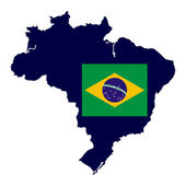 Brazil map with national flag — Stock Vector